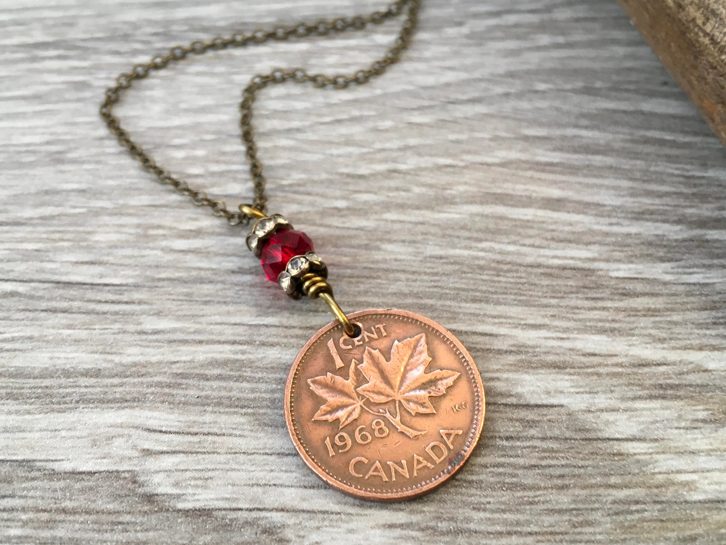 50th Birthday Gift Canadian Coin Necklace 1969 One Cent Pendant