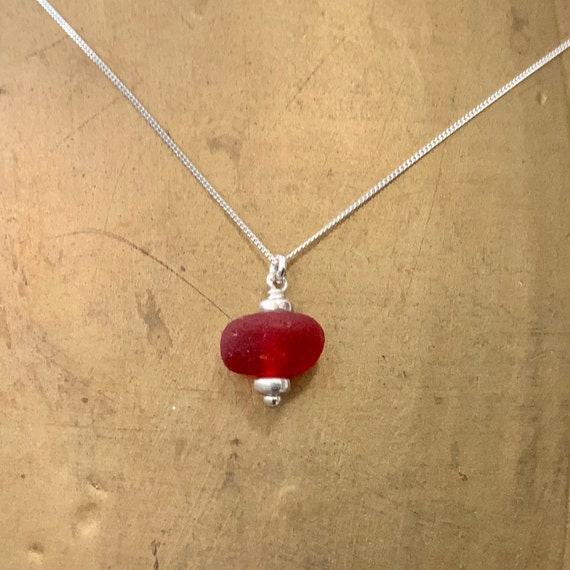 Red Sea glass necklace, dainty red beach glass pendant, sterling silver chain, blood Red Sea glass jewelry, genuine beach found