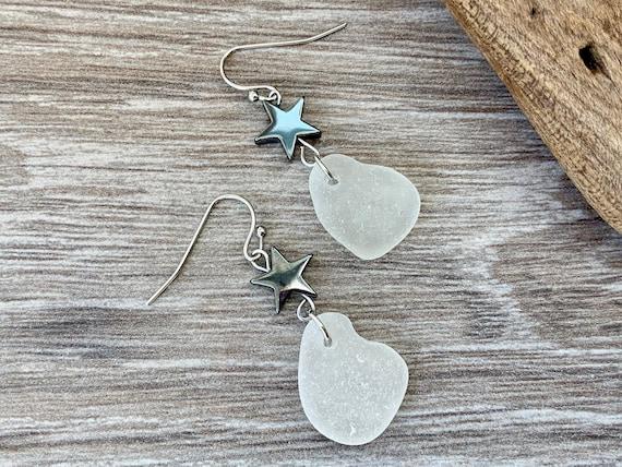 Sea glass earrings, hematite star, genuine beach glass jewellery, boho beach earrings, white, grey, Cornish, English, mermaid, gift for her