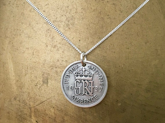 1937 Sixpence necklace, 82nd birthday gift, sterling silver chain, British coin pendant, English vintage, England, present for her woman