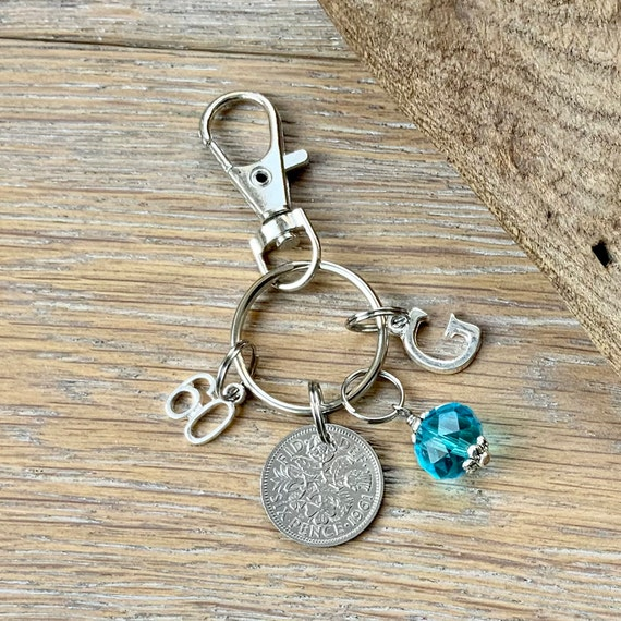 60th Birthday gift, birthstone charm, 1961 sixpence bag clip, choose initial and birthstone colour