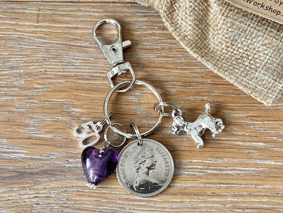 1971 British coin bag charm or key ring, 50th birthday or anniversary gift, dog lover