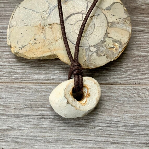 Hag stone pendant, raw stone necklace, beach rock jewellery, waxed cotton cord, knotted necklace, adjustable length, mens pebble pendant