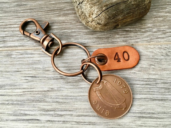 1979 or 1980 Irish coin keychain, keyring or clip, a perfect 40th birthday gift or 40th anniversary present for a man or woman