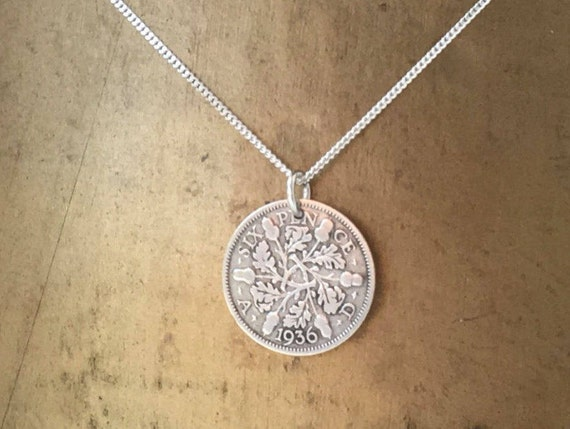 Silver sixpence necklace, sterling silver chain, 1936 British coin pendant, 83rd birthday gift, English gift for her, woman. mum, grandma