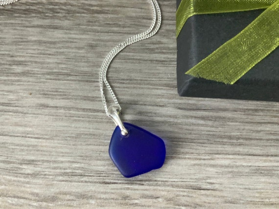Cobalt blue sea glass and sterling silver necklace, blue beach glass pendant, sea glass jewelry, sterling silver necklace