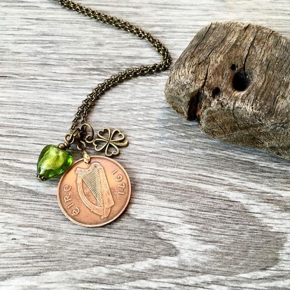 Irish coin pendant necklace,