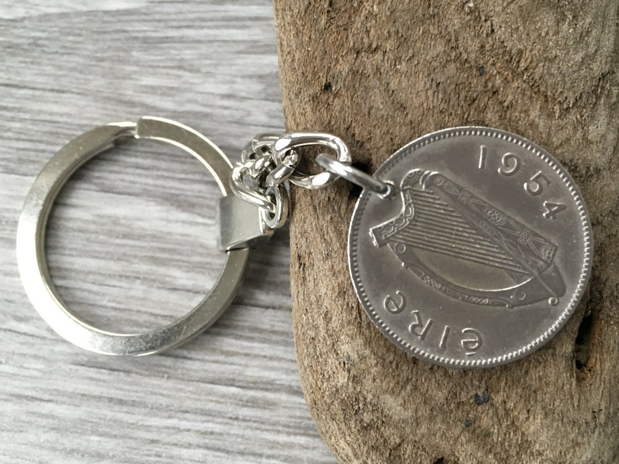 1954 Or 1955 Irish Lucky Coin Keychain Keyring 64th 65th Birthday Gift