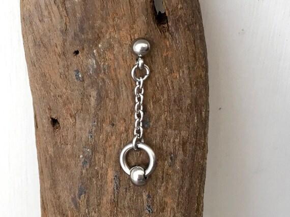 Captive bead earring, kpop dangle single earring, one Long stainless steel earring or a pair for men or women, Jpop accessory