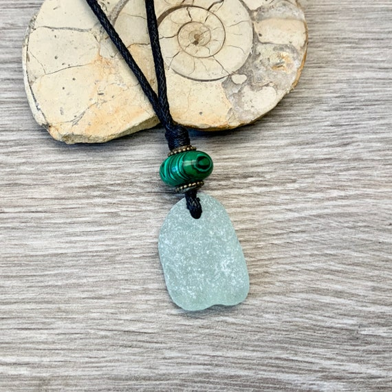 Natural sea glass pendant necklace, green Malachite and Cornish sea glass pendant with a thick waxed cotton adjustable cord