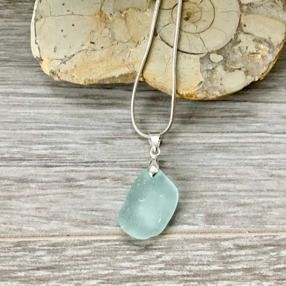 Natural sea glass pendant, Cornwall beach glass necklace, ocean, mermaids tears, sea glass jewelry, birthday gift for a woman