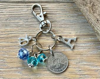 70th birthday gift, 1951 sixpence aquamarine blue beaded charm, keyring or bag clip, choose initial