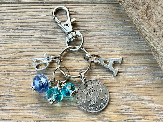 70th birthday gift, 1951 sixpence aquamarine blue beaded charm, keyring or bag clip, choose initial