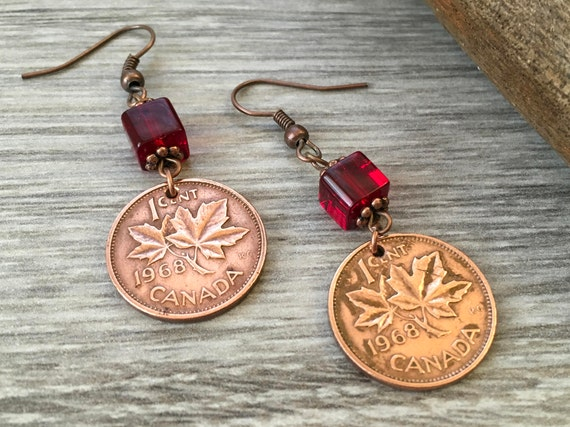 50th Birthday Gift 1968 Canadian Coin Earrings Canada Red