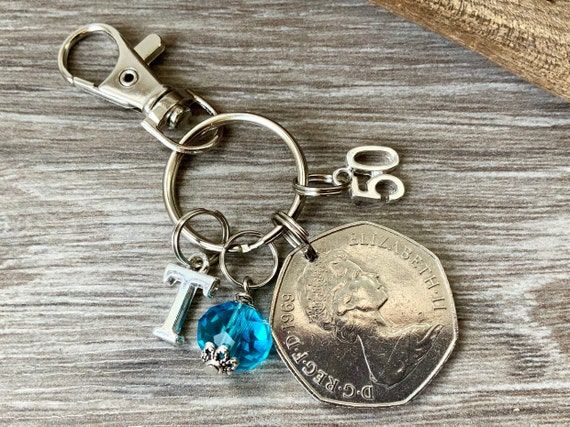 50th birthday gift, 1969 British 50 pence coin bag charm clip, birthstone and initial present, UK anniversary,  for woman