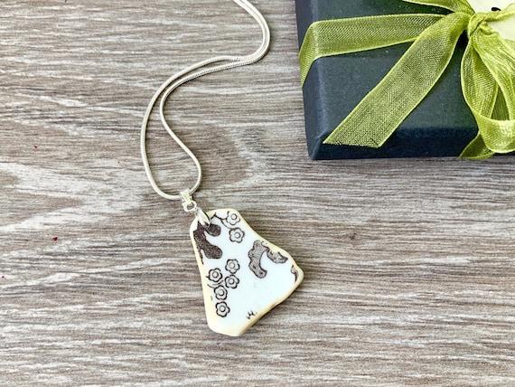Sea washed china necklace, surf tumbled ceramic pendant,  recycled China necklace, Ocean pendant, Willow pattern