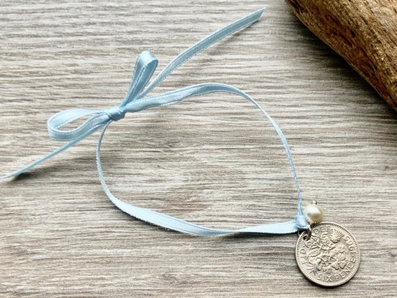 Something old something new, something borrowed and something blue, lucky sixpence tie bracelet or anklet