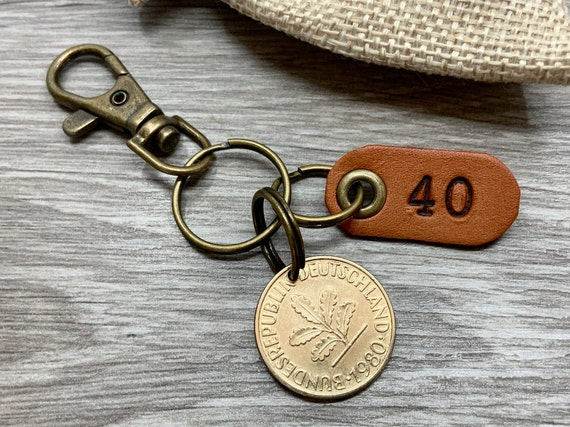 40th birthday gift, 1980 German coin keyring or clip, Germany 10 pfennig keychain, for a  man or woman