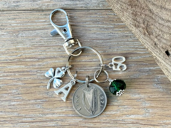 50th birthday gift, Irish Birthstone charm clip, 1971 coin keyring or bag clip, choice of initial and birthstone colour