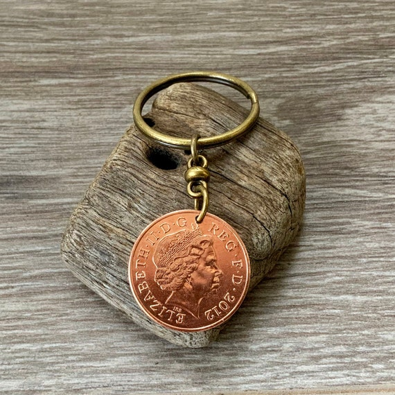 2012 or 2013 British coin keyring, keychain or clip, Choose coin year for a 6th or 7th UK Anniversary gift,