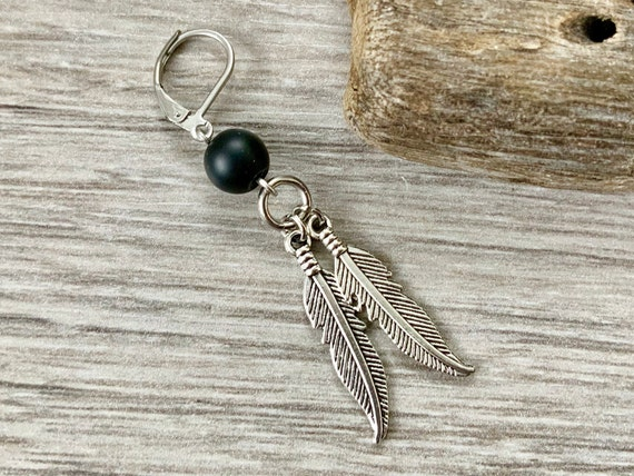 Feather and onyx bead earring, choose between single earring or a pair unisex earrings