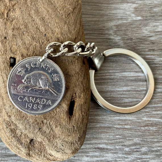 Canadian beaver coin keychain, canada 5c keyring, choose coin year, 30th or 35th birthday gift  or anniversary present for a man or woman