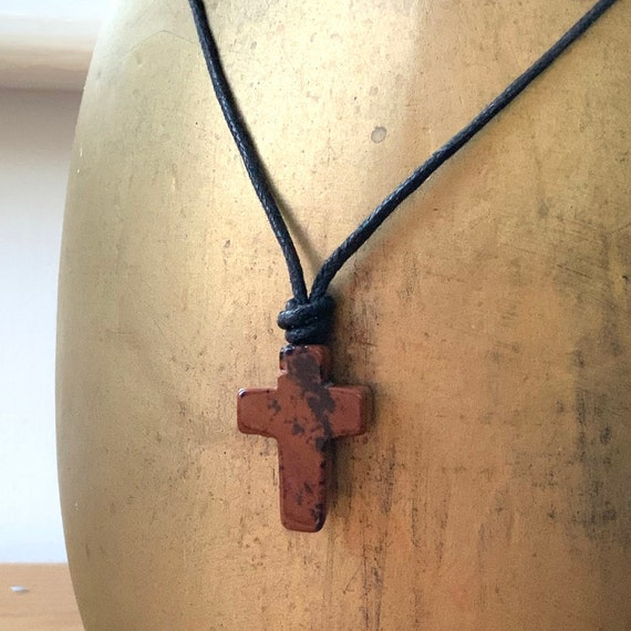 Mahogany obsidian adjustable Small Cross necklace on black leather or waxed cotton cord, hippie pendant, gemstone cross choker