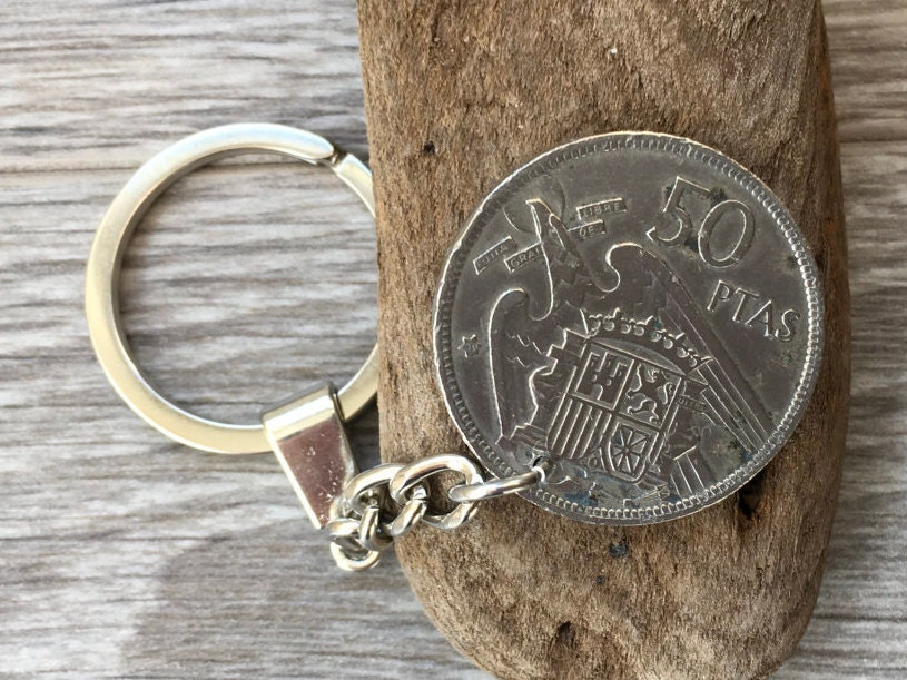 60th Birthday Gift For Him Spanish Coin Keyring 1957 Keychain 50