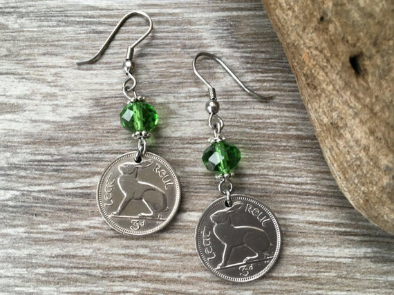 70th birthday gift, Rabbit earrings, Irish 1948 or 1949 hare coin jewelry, choose coin year, Ireland harp retirement present for a woman