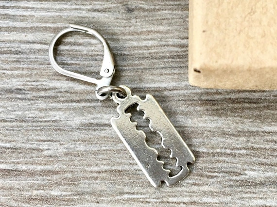 Razor blade earring, single earring or pair of earrings, stainless steel earring for a man or woman