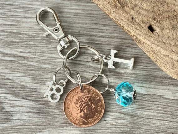 18th birthday gift, 2003 British lucky penny bag charm clip, birthstone and initial present, UK anniversary,  for woman