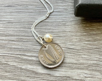 1950 Irish coin necklace, 71st birthday gift, Ireland jewellery, Irish harp and hare coin, a perfect present for a woman