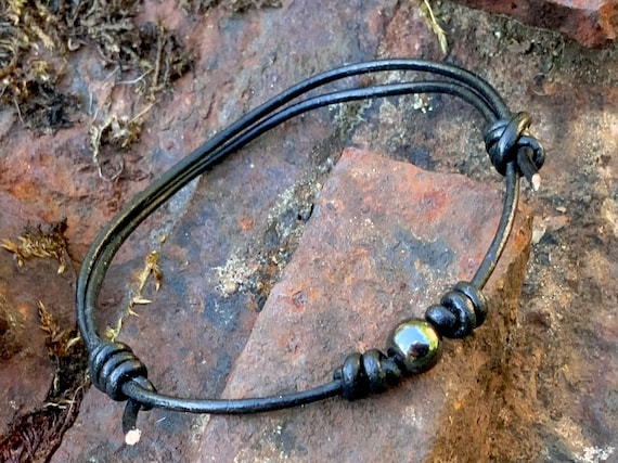 Hematite bead knotted bracelet, simple adjustable jewellery for men or women, a perfect iron or leather anniversary gift