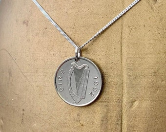 Irish coin necklace, choose coin year, Taurus bull pendant, sterling silver chain, Ireland Anniversary present or birthday gift