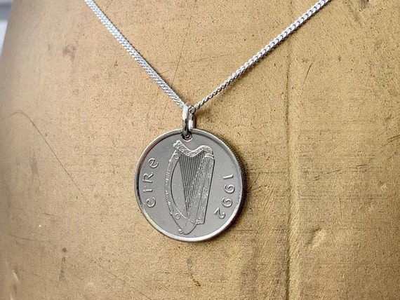 Irish coin necklace, choose coin year, Taurus bull pendant, sterling silver chain, Ireland Anniversary present, birthday gift