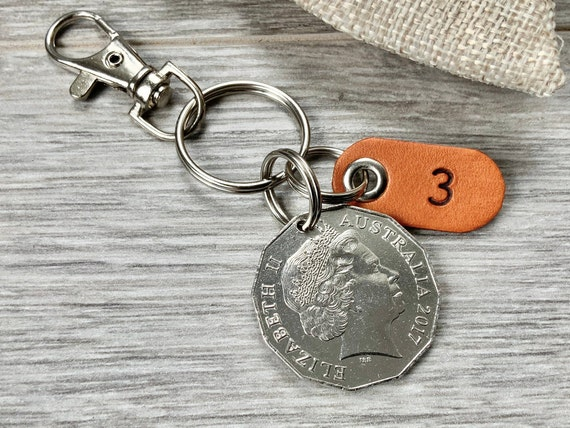 2017 Australian 50 cent coin keyring, keychain or clip, Australia leather anniversary gift, 3rd Anniversary present for a man or woman
