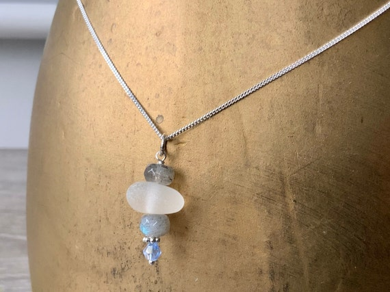 sea glass pendant necklace, handmade with stormy labradorite and blue crystal, Cornish Natural beach glass jewellery. sterling silver chain