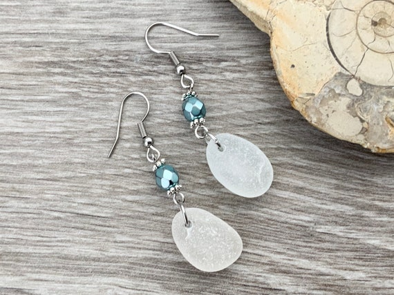 Sea glass and pale blue beaded earrings, beach glass jewellery, recycled glass, stainless steel ear wires