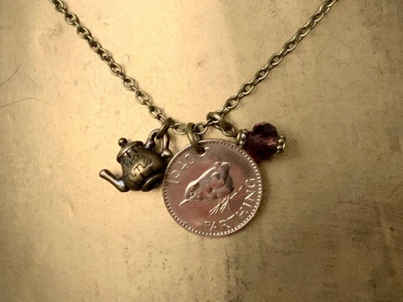 Wren farthing pendant necklace, available in years 1938, 1939, 1940 or 1941, British teapot charm pendant, grandma present