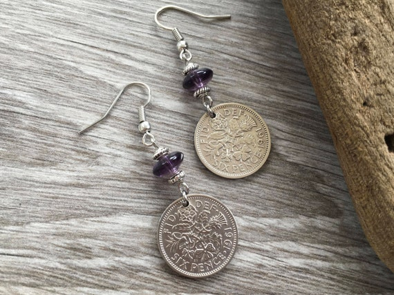Lucky sixpence earrings, birthday gift for a woman, purple long dangle coin earrings, stainless steel jewellery, anniversary, good luck