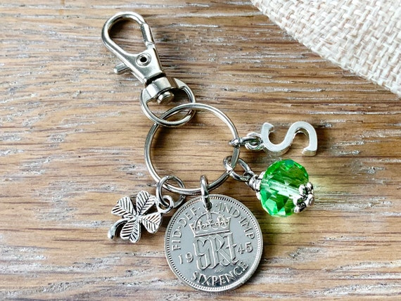 1945 silver sixpence, 76th birthday gift, birthstone charm, keyring or bag clip, choose initial and birthstone colour