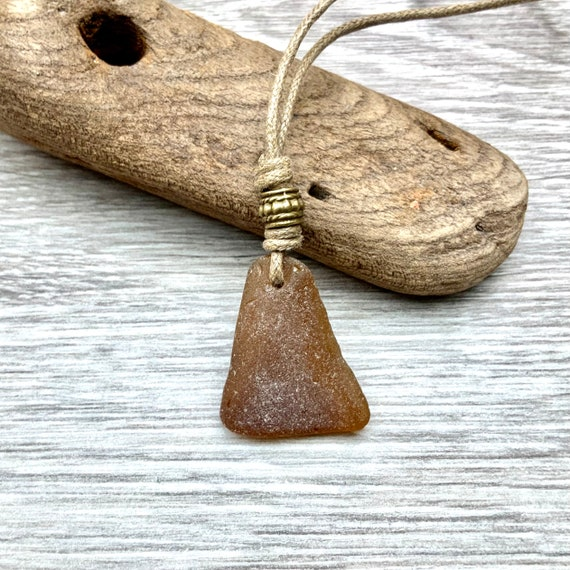 Brown sea glass adjustable necklace, natural coloured cotton cord, brown beach glass jewellery