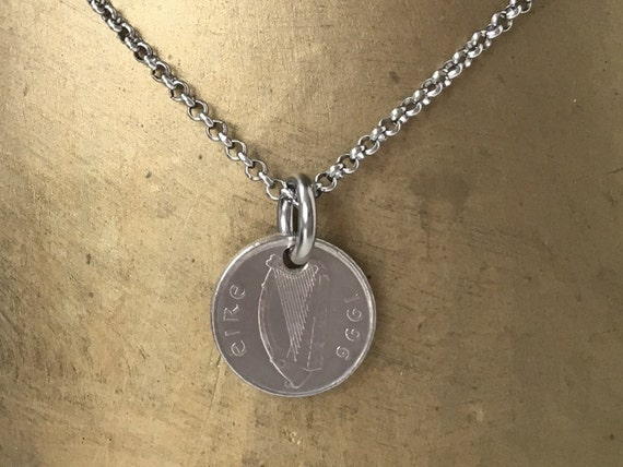 Irish coin necklace on a stainless steel chain, masculine jewellery, choose coin year
