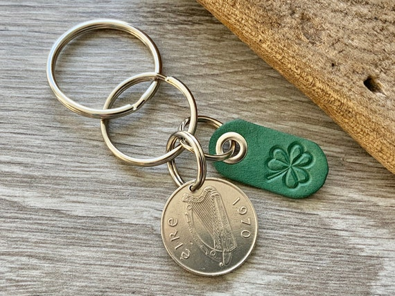 Ireland coin with a shamrock leather tag, keychain, keyring or clip choose coin year for a perfect birthday or anniversary gift