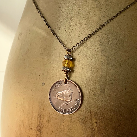 Wren farthing necklace, British bird birth year coin pendant, English present for a Woman, choose coin year