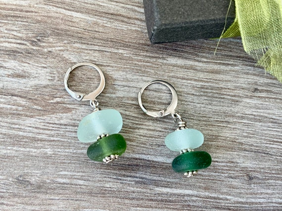 Sea glass earrings, found beach glass jewellery, lever-back ear wires, recycled glass ear bobs, short dangle earrings, gift for her, woman