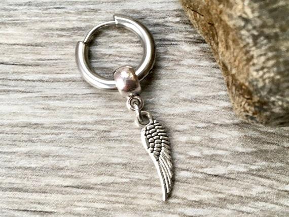 Thick hoop earring, angel wing jewellery, choose between a single earring or a pair of earrings,stainless steel, for men or women