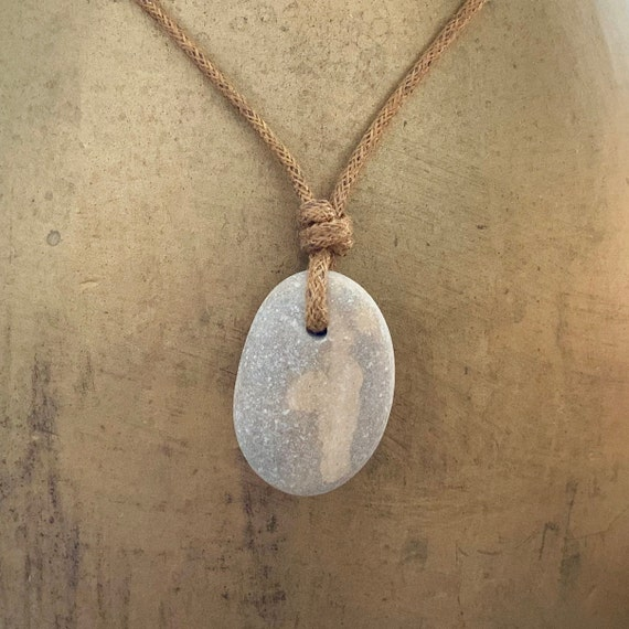 Raw stone necklace, found beach pebble pendant, simple natural jewellery, unisex stone and cotton cord pendant, rock jewelry