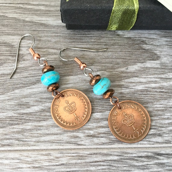 British coin earrings, English 1971, 1973, 1974, 1975 or 1976 half penny, choose coin year, UK anniversary present for a woman
