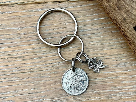 Lucky British sixpence keyring or clip, choose coin year for a perfect birthday, anniversary, retirement or good luck gift